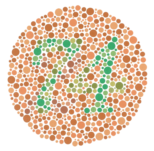 The number 74 formed by shades of green bubbles on a circular background of orange and brown bubbles.
