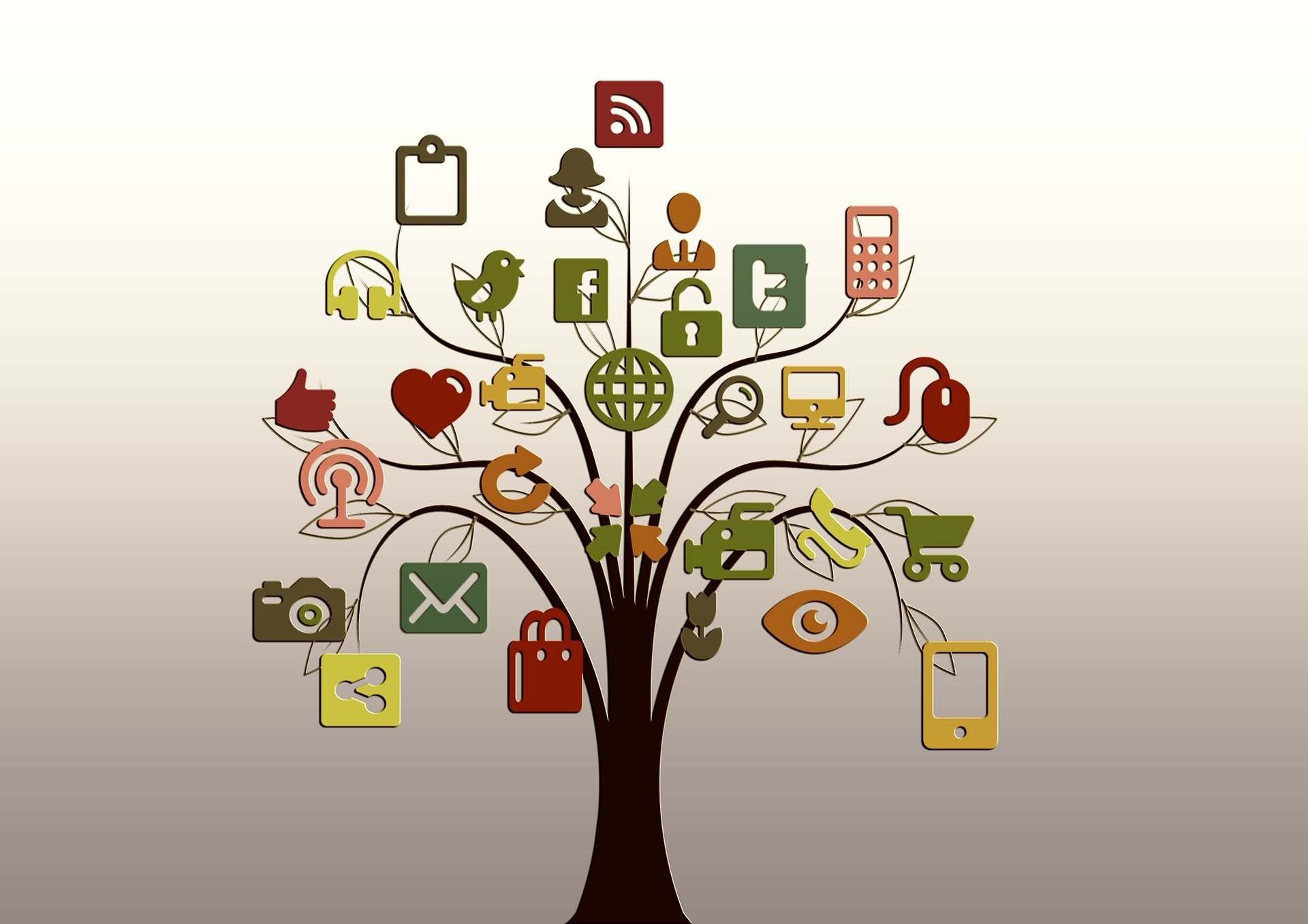 Illustration of a tree bearing website and social media icons.